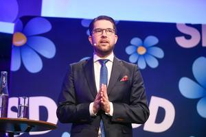 Jimmie Åkesson håller fram Danmark som ett föredöme för Sverige. Bild: Vilhelm Stokstad/TT