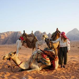 Med kameler i Wadi Rum öknen Jordanien. Linda har vid flera tillfällen bott bland beduiner i både Jordanien och Egypten.Bild: Linda Sjölander Dillenbeck/Privat