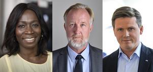 De tre som slåss om jobbet som ledare för Liberalerna: Nyamko Sabuni,  Johan Pehrson och Erik Ullenhag. Foto: TT.