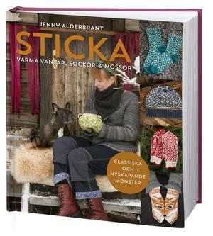 På framsidan till den nysläppta boken syns Jenny Alderbrant med hunden Penny, som var anledningen till att hon började rita stickningsmönster – hon ville nämligen ha ett par vantar med fransk bulldogg på och när det inte fanns designade hon dem själv.Foto: Bokförlaget Semic