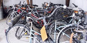 Tekniska kontoret brukar få ihop en del cyklar under den årliga rensningen. Här en bild från 2013. Foto: Maria Gustafsson