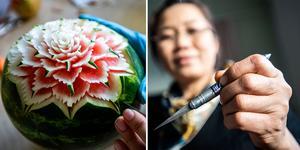 Wittaya Mahayotee från Åmynnet utanför Örnsköldsvik var på plats i Sliperiet under måndagen och lärde ut konsten i att snida frukt och grönsaker.