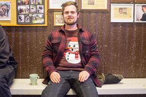 Karl Myrsten var den enda tidningen hittade som redan dragit på sig jultröjan.