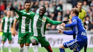 Fjolårets duell på Tele2 Arena mellan Pa Dibbas Hammarby och Eric Björkanders GIF Sundsvall slutade 0–0. Nu möts lagen igen – och den här gången är det en toppmatch mellan två obesegrade lag. BIld: Anders Wiklund/TT