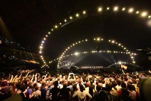Bilden är från förra årets Eurovision Song Contest i Lissabon. Foto: Stina Stjernkvist/TT