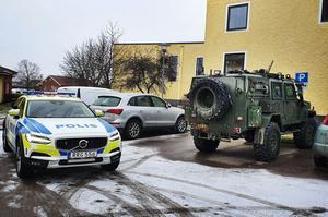 Ett av de stulna militärfordonen hittades i Tillberga i Västerås. Bild: Polisen Västmanland