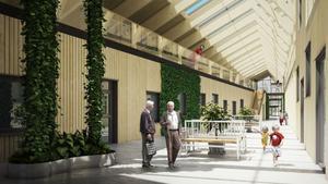 Innergård/atrium mellan bland annat vårdcentral och bostadshus. Bild: White Arkitekter.