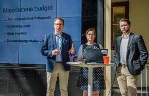 Peder Björk (S), Christiane Rüdinger (V) och Hans Forsberg (C) presenterade på måndagens ett gemensamt förslag till budget för Sundsvall.