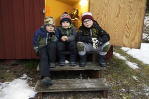 Kusinerna Edvin Ovemar, Vidar och Melker Hästdahl-Persson satte sig på trappan för att äta lite.