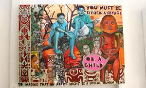 Monika Marklingers målningar tar upp trådar från Paul Gauguin, med citat från intervjuer med honom.