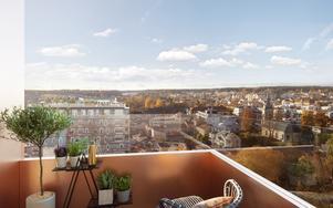 Blivande utsikt från Havstornet i Norrtälje. Nästa år startar bygget för att vara inflyttningsklart 2021. Illustration: Index Residence
