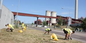 Idrottslag städar kring Igelstaverket.  Foto: Josefin Warg/Städa Sverige