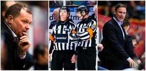 Magnus Sundquist, torsdagens domare Daniel Winge och Mikael Andersson, samt Roger Rönnberg. Bilder: Bildbyrån