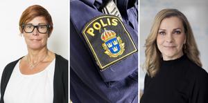 Katharina von Sydow, Polisförbundets ordförande i region Väst och Lena Nitz, Polisförbundets ordförande menar att polisyrket måste uppvärderas om man ska nå målet om fler poliser i landet. Foto:  Pernille Tofte/Stefan Fels/Peter Jönsson