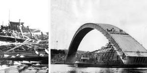 Insändarskribenten anser att Skanska åtminstone borde sätta upp skylt med de omkomnas namn på platsen för att hedra dem medan anhöriga fortfarande lever. Sandöbron rasade den 31 augusti 1939. Foto: Scanpix.