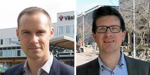 Mikael Andersson Elfgren, oppositionsråd (M) och  Mikael Damsgaard, riksdagsledamot (M).