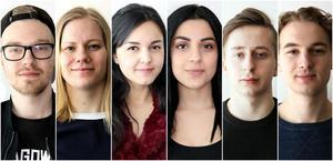 Från vänster: Robin Etheridge, Cajsa Larson, Mayte Vanessa Ramirez, Amira Rabia, Fabian Björkman och Julian Roberts. Fattas på bild: Rasmus Karlsson och Alexander Johansson.