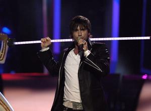 Martin Stenmarck när han tävlade i Eurovision Song Contest 2005 med bidraget Las Vegas i Kiev.  Han slutade på en 19:e plats av 24 deltagande länder i finalen.  Bild: Leif R Jansson/TT