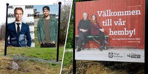 Bröderna Pettersson ska välkomna till Ånge – tidigare var det Lars Lagerbäck och Johanna Ojala (men de har nu blåst bort från skylten). Obs! Fotot är ett montage.
