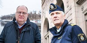 Åklagare Micael Dahlberg och polisens presstalesperson Mikael Hedström Foto:arkiv