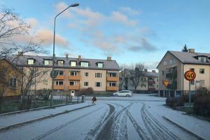Snö i Falun på lördagsmorgonen. Foto: Läsarbild