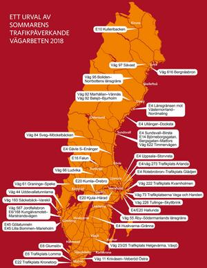 Ett urval av sommarens vägarbeten på den svenska vägarna.  Klicka på kartan om du vill se den i större storlek.