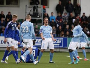 2015. Jo Inge Berget gjorde de första målen och när Markus Rosenberg skickade in 3–0 efter 20 minuter var premiären körd för GIF Sundsvall. Bild: Therése Ny/TT