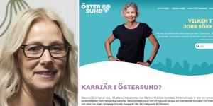 Karin Henriksson. Bilden är ett montage. Foto: Anders Olsson och bild från hemsidan.