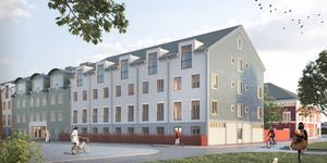 Illustration på det nya vårdboendet, sett från hörnet Bergsmansgatan-Kålgårdsgatan. Till höger skymtar den nya vårdcentralen, med faluröd fasad, som håller på att byggas. Arkitektkontoret Brunnberg&Forshed är ansvarigt för bild och gestaltning.