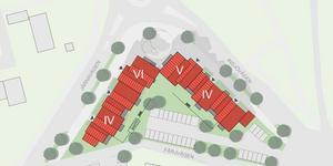Illustration från detaljplanen, husen närmast rondellen är tänkta att bli fem och sex våningar.