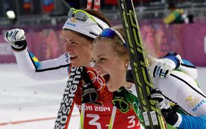 Malungstjejen Stina Nilsson (närmast kameran), tävlandes för IFK Mora, vann OS-brons i lagsprinten tillsammans med Ida Ingemarsdotter i Sotji 2014. Året därpå blev hon