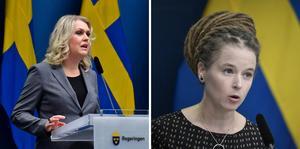 Lena Hallengren (S), socialminister, och Amanda Lind (MP), Kultur- och demokratiminister. Foto: Jonas Ekströmer och Pontus Lundahl
