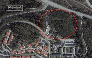 Det var i det inringade området vid Hulivägen  som Ekeblad Bostad ville bygga sina radhus.  Bild: Sundsvalls kommun