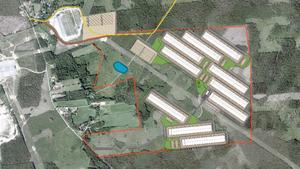 Kommunen har ritat in tio datahallar i förslaget till detaljplan.