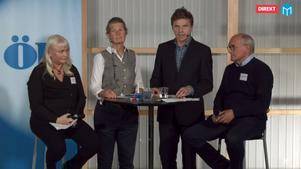 Elin Hoffner från vänsterpartiet, våra progamledare samt kristdemokraternas Lars-Erik Olofsson.