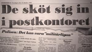Beskrivning: Expressen skrev om rånet torsdagen den 15 oktober 1992. Foto: SVT