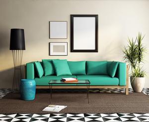 Tänk kontraster. Till en modern och färgstark inredning passar det med en mer neutral och jordnära matta.Foto: Adobe Stock