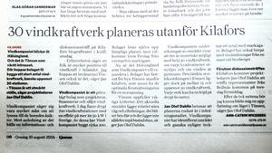 Den 30 augusti 2006 publicerade Ljusnan sin första artikel om Vindkraft i Tönsen.