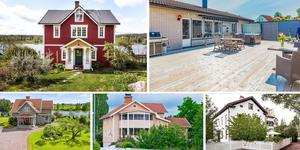 Ett montage med några av de hus som finns med på Klicktoppen för vecka 23, sett till de hus i Dalarna som fått flest klick på bostadssajten Hemnet under förra veckan.