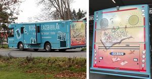 Biblioteksbussens baksida är illusterad av Ida Rosén Branzell. Foton: Michael Landberg / privat.