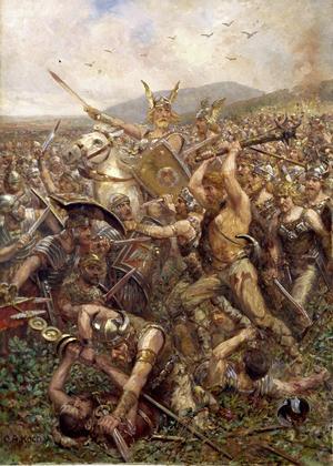 Otto Albert Koch skildrar Arminius förkrossande seger över romanra i målningen