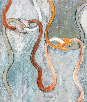 """Kvantfysiken hade stor betydelse för Berit Petterssons konst och i verket """"Knutar"""" gestaltar hon knutteorin. Knuten är en kontinuerligt stängd kurva, ett av de mönster och sammanhang hon såg i livet. """"Knutar"""" är också omslagsbild på boken om Berit."""