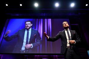 Sverigedomokraterns partiledare Jimmie Åkesson talar under partiets Landsdagar 2017. Kaos är en del av SD:s politiska taktik. Foto: Vilhelm Stokstad / TT /