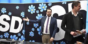 Sverigedemokraternas partiledare Jimmie Åkesson och Oscar Sjöstedt, ekonomisk-politisk talesperson.