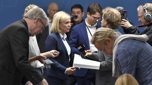 Finansminister Magdalena Andersson (S) presenterar budgetpropositionen för 2020 under en pressträff på Rosenbad i Stockholm. Foto: Claudio Bresciani / TT