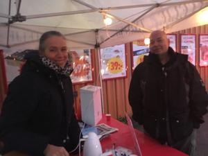 Christer Granat gästade marknadskoordinator Carina Åsman när NT var på turné i Bergshamra.