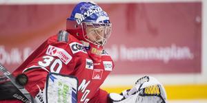 Debuten i Modotröjan kom i 4-3-segern hemma mot Västerås i oktober 2018. Bild: Erik Mårtensson/TT