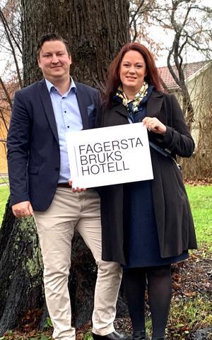 Robert och Jennifer Troëng Johansson blir nya ägare av Fagersta brukshotell. Foto: Privat