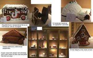 Några av de färdiga skapelserna i Läroverkets pepparkakshustävling.