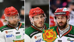 Viktor Amnér, John Persson och Tomas Skogs var med på isen igen när Mora IK tränade på torsdagen. Foto: Andreas Lidén (Amnér och Persson) och Simon Eliasson/Bildbyrån